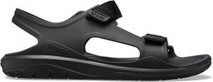 Czarne sandały Crocs z płaską podeszwą