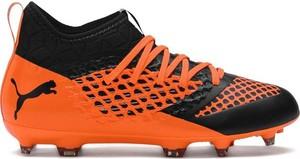 Pomarańczowe buty sportowe dziecięce Puma sznurowane
