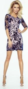 Fioletowa sukienka imesia.pl w hafciane wzory mini