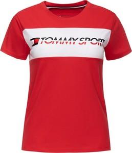 Czerwony t-shirt Tommy Sport z okrągłym dekoltem