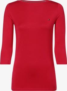 Czerwony t-shirt Tommy Hilfiger z golfem z długim rękawem