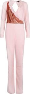 Różowy kombinezon Patrizia Pepe w stylu glamour z tkaniny z długimi nogawkami