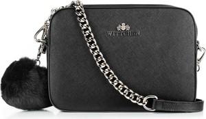 Czarna torebka Wittchen na ramię z pomponami