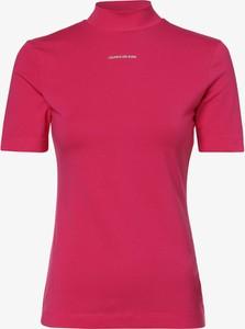 Różowa bluzka Calvin Klein z golfem z krótkim rękawem