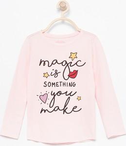 Różowa koszulka dziecięca Reserved z długim rękawem