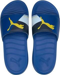 Niebieskie buty letnie męskie Puma ze skóry ekologicznej