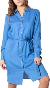 Niebieska sukienka Vila koszulowa z bawełny w stylu casual