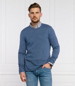 Niebieski sweter Joop! z lnu z okrągłym dekoltem w stylu casual