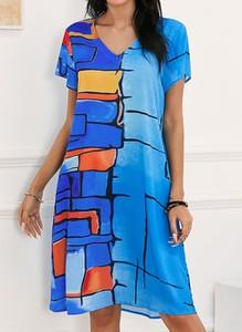 Niebieska sukienka Cikelly z krótkim rękawem mini z dekoltem w kształcie litery v