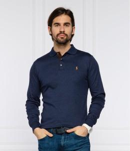 Niebieska koszulka polo POLO RALPH LAUREN z długim rękawem