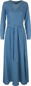 Niebieska sukienka Nife z bawełny z długim rękawem