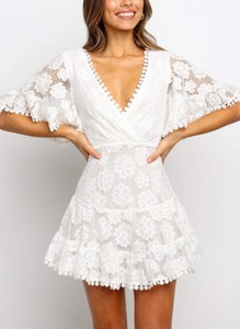Sukienka Sandbella z krótkim rękawem mini w stylu boho