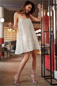 Srebrna sukienka Awama na ramiączkach mini