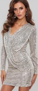 Srebrna sukienka Renee mini z długim rękawem kopertowa