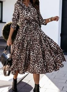 Brązowa sukienka Sandbella maxi z dekoltem w kształcie litery v
