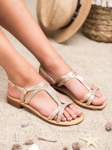 Złote sandały Czasnabuty z klamrami