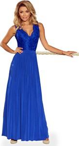 Niebieska sukienka Coco Style z dekoltem w kształcie litery v bez rękawów maxi