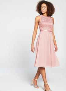 Różowa sukienka V by Very bez rękawów midi