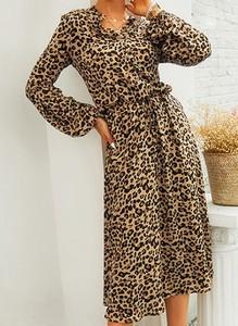 Brązowa sukienka Cikelly kopertowa w stylu casual maxi