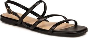 Czarne sandały Jenny Fairy z klamrami z płaską podeszwą