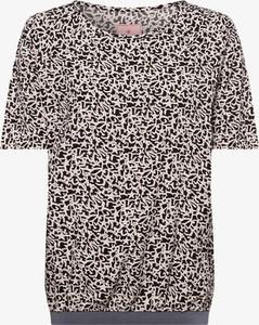 Brązowa bluzka Lieblingsstück w młodzieżowym stylu z krótkim rękawem z okrągłym dekoltem