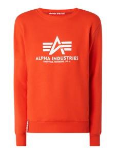 Pomarańczowa bluza Alpha Industries w młodzieżowym stylu z bawełny