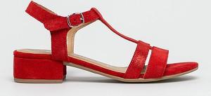 a4b9e4727cdd46 Czerwone sandały Tamaris ze skóry z klamrami w stylu casual