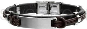 Silverado stylowa męska bransoleta ze skóry naturalnej - 77-ba501