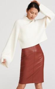 Brązowa spódnica Reserved ze skóry w stylu casual