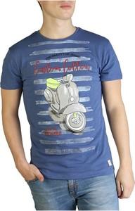 Niebieski t-shirt Yes Zee z krótkim rękawem z bawełny z nadrukiem