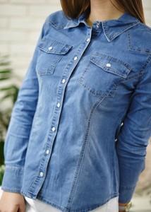 Niebieska koszula Fason z kołnierzykiem z długim rękawem z bawełny