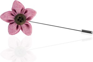 Em Men`s Accessories Szpilka do butonierki różowy kwiat EM 140