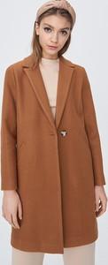 Brązowy płaszcz Sinsay z wełny w stylu casual