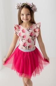 Bluzka dziecięca Myprincess / Lily Grey z krótkim rękawem w kwiatki