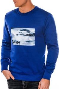 Niebieska bluza Ombre z nadrukiem