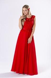 Czerwona sukienka Ptakmoda.com z dekoltem w kształcie litery v bez rękawów gorsetowa