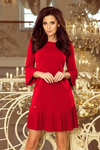 1ce173d57fc793 Czerwona sukienka NUMOCO z długim rękawem z okrągłym dekoltem