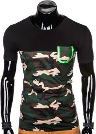T-shirt Ombre Clothing z krótkim rękawem z bawełny w militarnym stylu