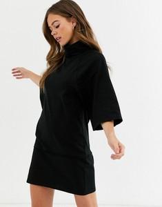 Czarna sukienka Asos Design z golfem mini z długim rękawem