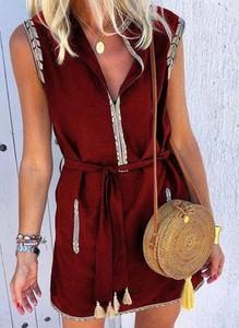 Czerwona sukienka Sandbella z długim rękawem w stylu boho szmizjerka
