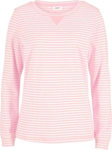 Różowa bluzka bonprix z długim rękawem z okrągłym dekoltem