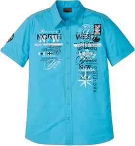 Niebieska koszula bonprix z klasycznym kołnierzykiem z nadrukiem z krótkim rękawem