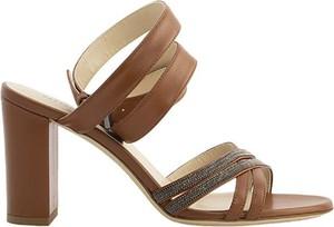 Brązowe sandały Fabiana Filippi ze skóry