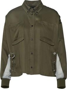 Zielona koszula Diesel w militarnym stylu z długim rękawem z kołnierzykiem