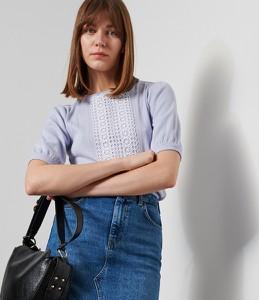 Niebieska bluzka Reserved w stylu casual z krótkim rękawem z okrągłym dekoltem
