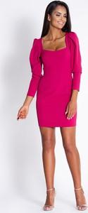 Różowa sukienka Dursi z długim rękawem