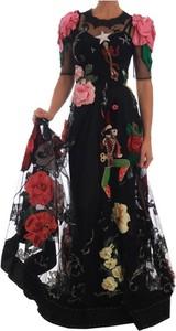 Czarna sukienka Dolce & Gabbana z jedwabiu z krótkim rękawem