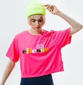 Różowa bluzka Ellesse w sportowym stylu z okrągłym dekoltem