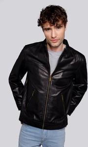Czarna kurtka Wittchen krótka w stylu casual ze skóry