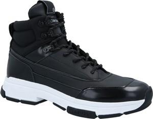Czarne buty sportowe Calvin Klein sznurowane ze skóry